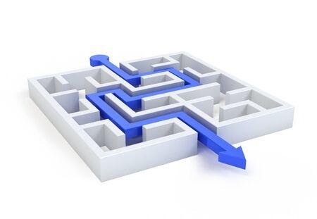 Maze with blue arrow