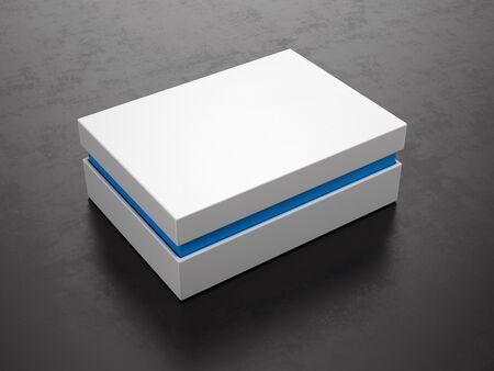 Closed White Box on black background - Box Mockup, 3d rendering Stockfoto