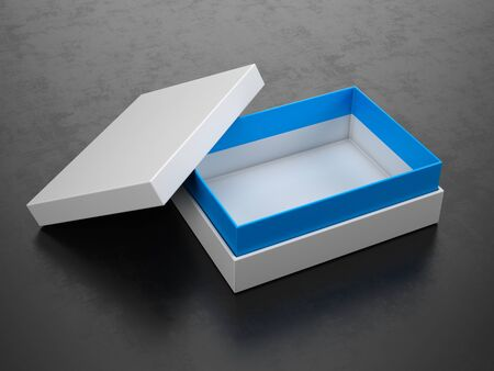 Opened White Box on black background - Box Mockup, 3d rendering