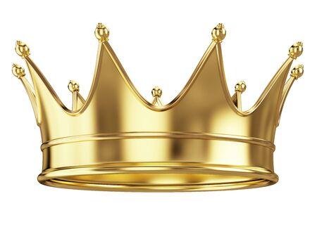 Corona reale dell'oro isolata su bianco. rendering 3d Archivio Fotografico