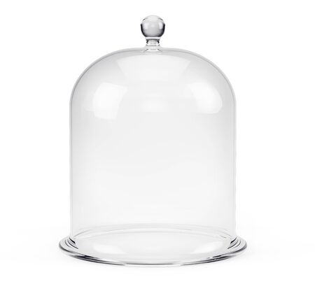 Glass bell jar isolated on white background. 3d rendering Imagens