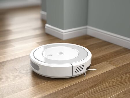 Robotic vacuum cleaner in action on wood floor. 3d rendering