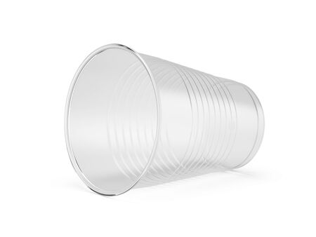 Clear disposable cup - plastic cup isolated on white. 3d rendering