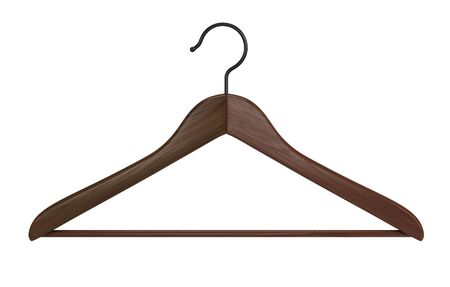 Front view of Wooden clothes hanger isolated on white background. 3d rendering Imagens