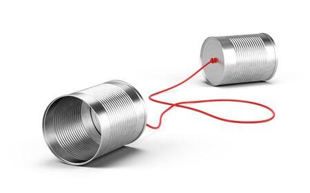 Blechdosen telefonieren isoliert auf weiss. Kommunikationskonzept. 3D-Rendering