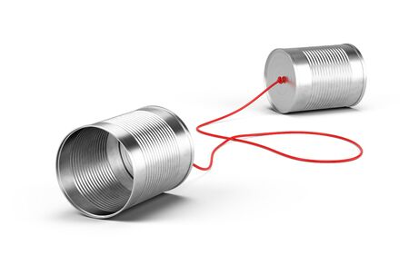 Tin cans phone isolated on white. Communication concept. 3d rendering Imagens