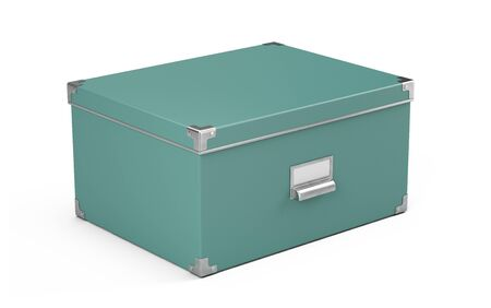 Storage box with nameplete isolated on white background - 3d rendering Imagens