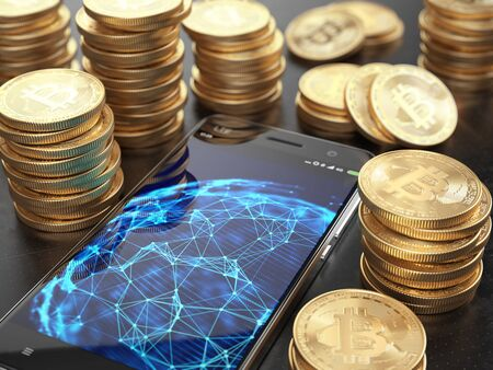 Smarphone with network connections on screen and Stacks of Bitcoins. Cryptocurrency concept. 3d rendering Imagens