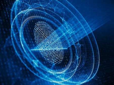 Digital biometric, security and identify by fingerprint concept. Scanning system of the fingerprint. 3d rendering Imagens