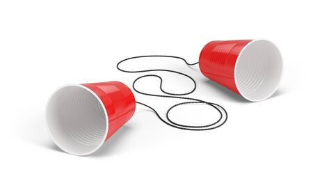 Disposable cup phone isolayed on white. Communication concept. 3d rendering