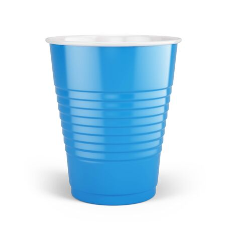 Blue disposable cup - plastic cup isolated on white. 3d rendering Imagens
