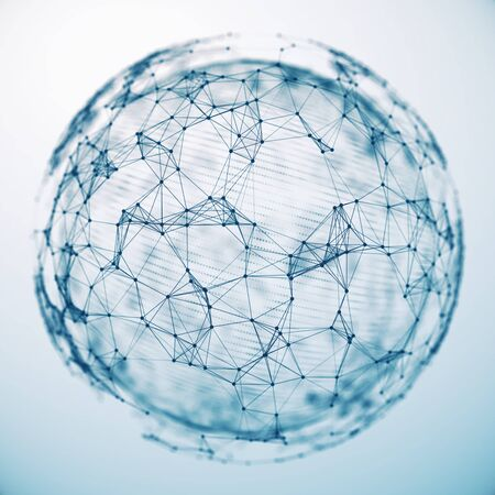 Concept of Global Network, blockchain, internet communication. 3d illustration Standard-Bild