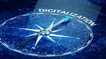 Digitalization concept - Compass needle pointing Digitalization word. 3d rendering Archivio Fotografico