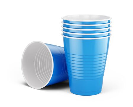 Blue disposable cups - plastic cups isolated on white. 3d rendering Imagens