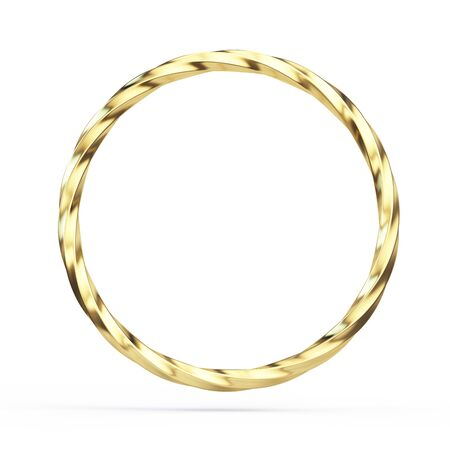 Twisted Gold ring isolated on white background - 3d illustration Imagens