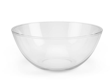 Empty glass bowl isolated on white - 3d rendering