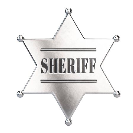 Sheriff star badge isolated on white background. 3d rendering