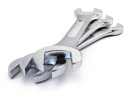 Wrench isolated on white. 3d rendering.
