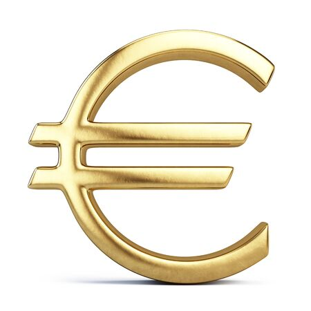 Golden euro sign on white background - 3d rendering