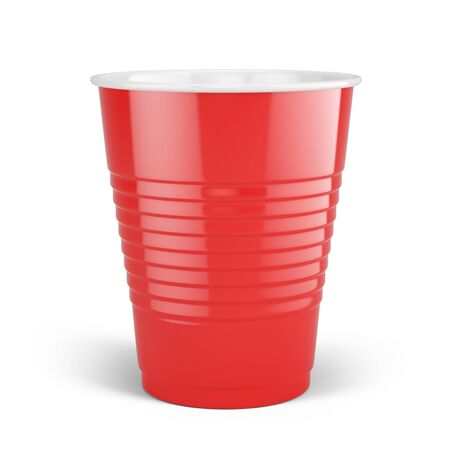 Red disposable cup - plastic cup isolated on white. 3d rendering