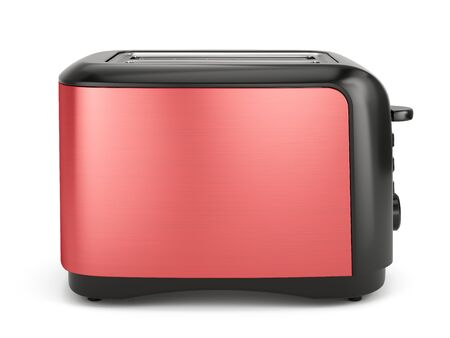Red toaster isolated on white. 3d rendering Imagens