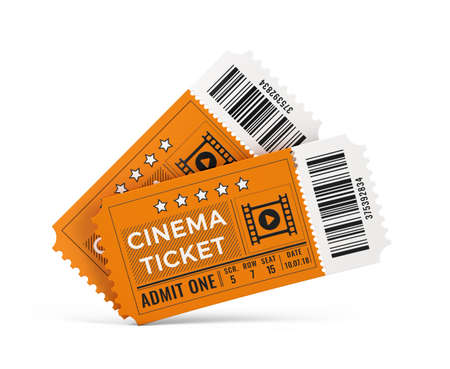 Two cinema tickets isolated on white background. 3d rendering Imagens