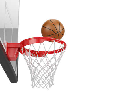 Basketball backboard, hoop, and basketball ball isolated on white background. 3d rendering