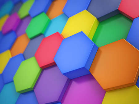 Hexagonal colorful abstract background. 3d illustration
