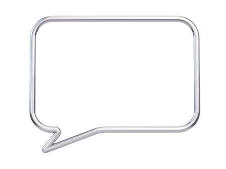Metall speech frame isolated on white background - 3d illustration Imagens