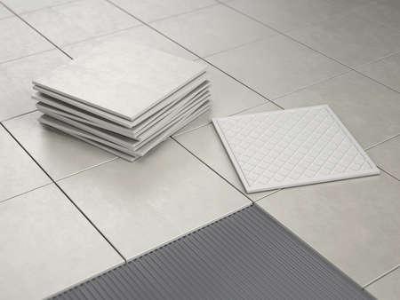 Laying Floor Ceramic Tiles - 3d rendering
