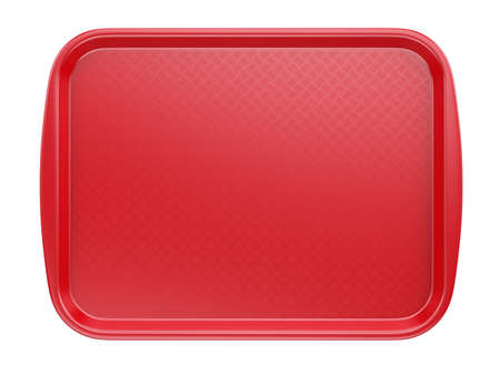 Empty Red Plastic Tray salver with Handles Isolated On White. 3d rendering Banque d'images - 167025070