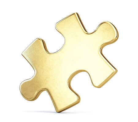 Gold puzzle piece isolted on white. 3d rendering