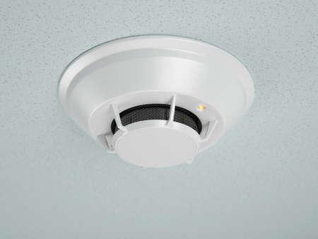 Modern smoke detector of fire alarm. 3d rendering