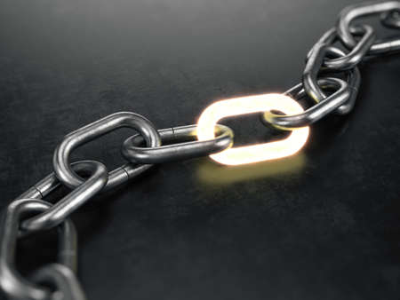 Metall chain with a glowing link on black background. 3d rendering Banque d'images