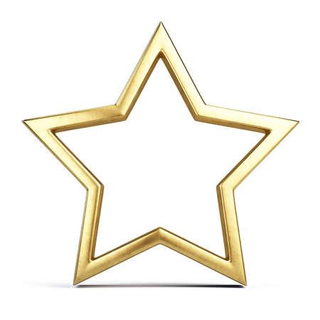 Trophy award concept - Golden Star frame. 3d rendering Imagens