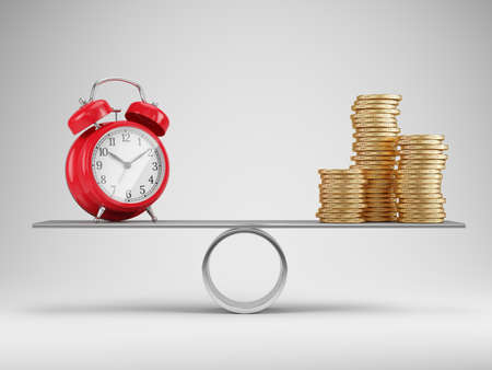 Time and money balance concept. Alarm clock and stacks of coins on scales - 3d rendering Imagens