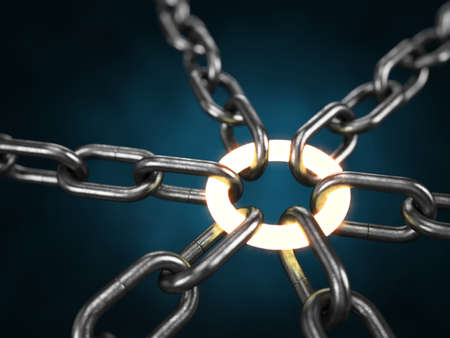 Metal chain with a glowing link on black background. 3d rendering - Illustration