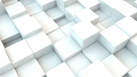 White cubes - geometric background - 3d rendering