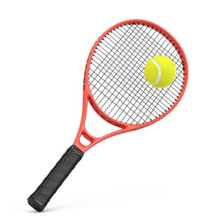 Tennis racquet and tennis ball isolated on white - 3d rendering Imagens