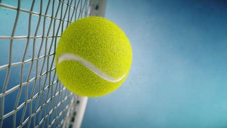 Tennis racket hits tennis ball. Closeup on blue background- 3d rendering Imagens