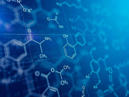 Chemistry and Medical abstract blue background. 3d rendering Imagens