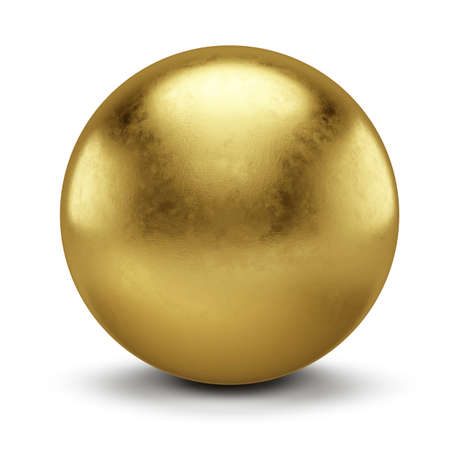 Golden Sphere isolated on white background - 3d Illustration Imagens