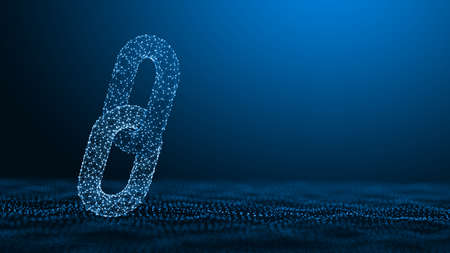 Block chain concept - Chain consists of network connections. 3d rendering