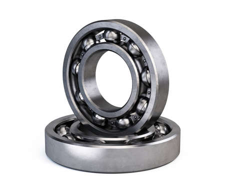 Ball bearings isolated on white. 3d rendering