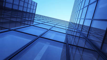 Skyscrappers with reflections. Glass and metall office buildings. 3d illustration