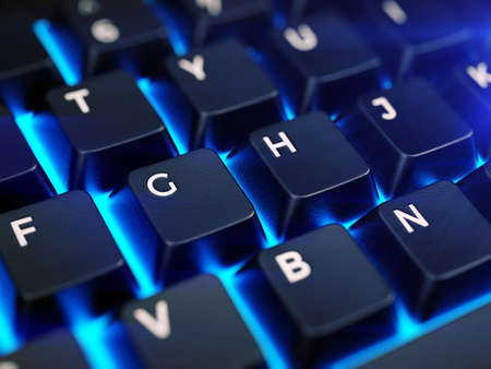 Laptop keyboard with illumination, closeup keyboard - 3d rendering Imagens
