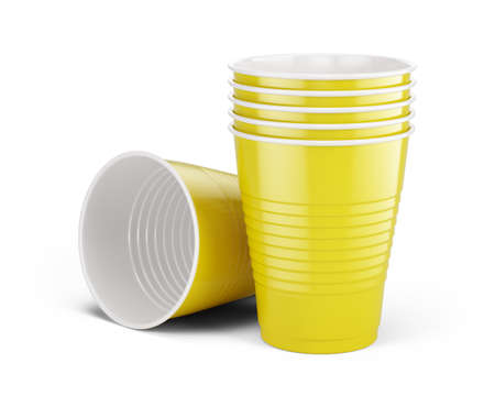 Yellow disposable cups - plastic cups isolated on white. 3d rendering