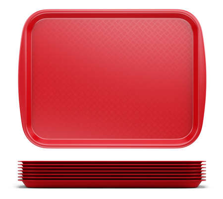 Empty Red Plastic Tray salver with Handles Isolated On White. 3d rendering Imagens