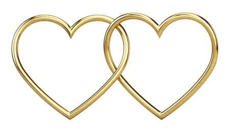 Golden metallic heart frames on white background - 3d rendering Imagens