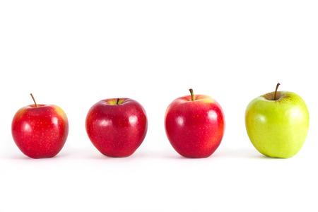 seniority: Apples in row Stock Photo
